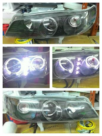 AHD404-B1WHW Headlamp Accord Cielo 94-97 Projector LED Angel Eyes Crystal Black Housing (RTF)