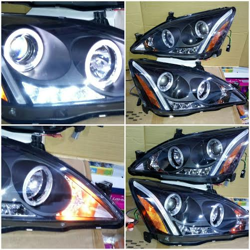 SK3300-ACD03-Y-JM Headlamp Accord Vtil 03-07 Projector LED Angel Eyes Crystal Black Housing (RTF)