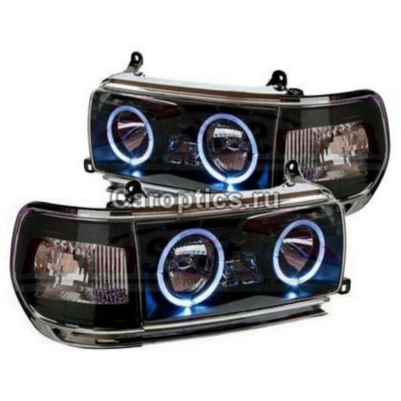 ATY818-B10HW+864D Headlamp FJ82 1990-1997 Angel Eyes Crystal Black Housing (Revs)