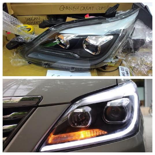 YAA-INA-0235 Headlamp Innova 2012- Onward Projector LED Bar Crystal Black Housing Lexus Style (RTF)