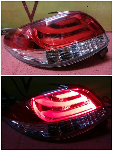 APG085-BERE2 Stoplamp Peugeot 206 1998-2005 LED Bar Red Clearrystal Clear Red (RTF)