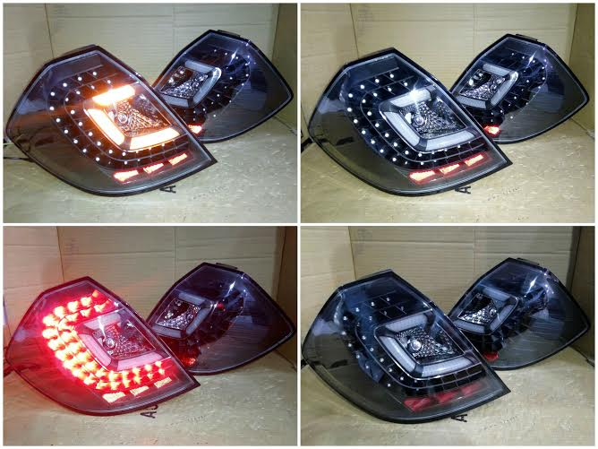 AXJRS-BLK Stoplamp Honda Jazz RS 08-13 LED Crystal Black Housing Clear Lens Axis Style (RTF)