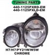 440-1125PXRD-EM Headlamp Mercedes Benz E Class W210 99-02 Projector Crystal Chrome (RTF)