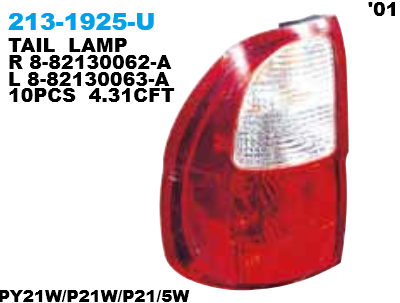 213-1925 Stoplamp Isuzu Panther 01-12 Crystal Red (RTF)